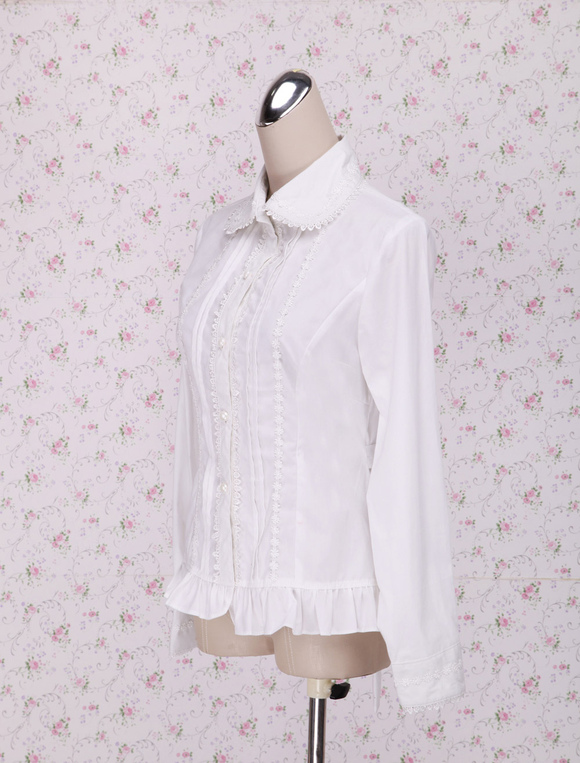 6b0333a2b55 ... Lolitashow White Cotton Lolita Blouse Long Sleeves Waist Belt Ruffles  Trim ...