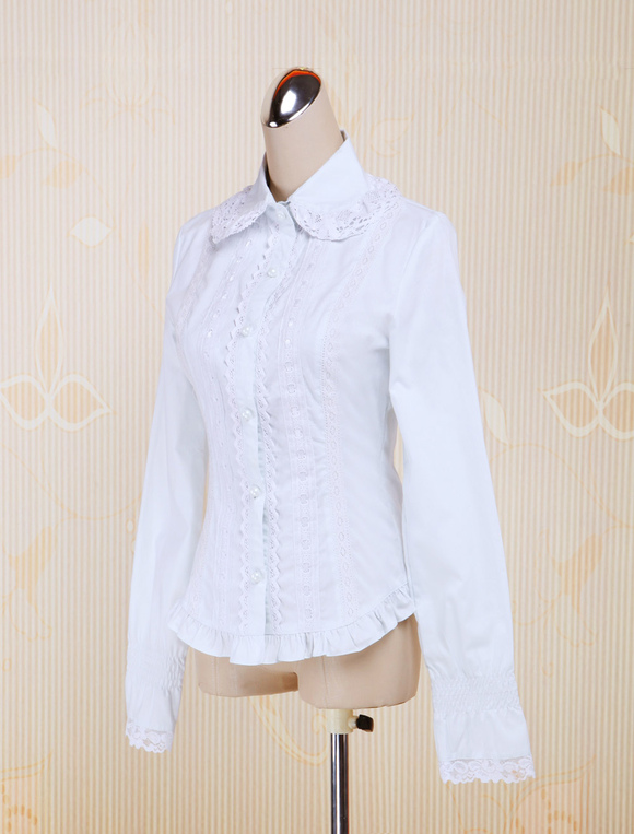 b9efcfe0bd9 ... Lolitashow White Cotton Lolita Blouse Long Sleeves Lace Trim Turn-down  Collar ...