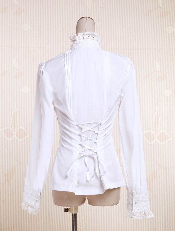 254489037a5 ... Lolitashow White Cotton Lolita Blouse Long Sleeves Stand Collar Lace  Trim Lace Up