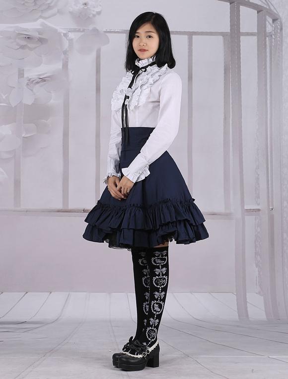 684eb1ac62 ... Lolitashow Cotton White Lolita Blouse Long Sleeves and Black Lolita  Skirt Outfits ...