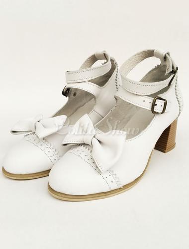 5f115b0b32b ... Lolitashow Lolita Chunky Heels White Double Strap Sweet Lolita Shoes  With Bow ...