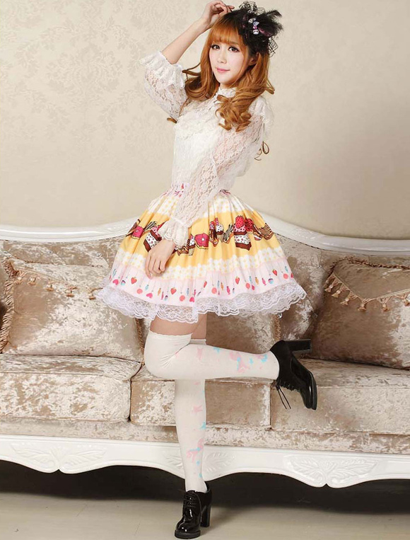 d80b1b52266e ... Lolitashow Sweet Yellow Pink Lolita Short Skirt Lace Trim Cake Biscuit  Print ...