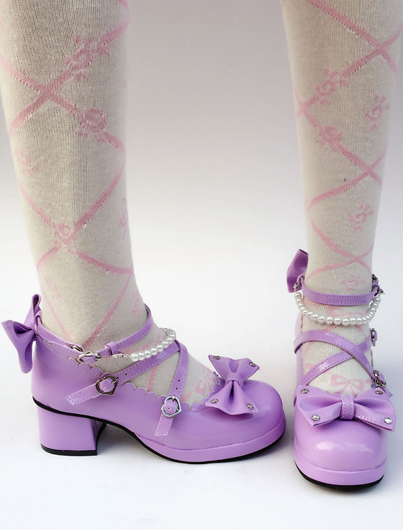 b32d0e627dd ... Lolitashow Purple Lolita Shoes Sweet Chunky Heel Pearl Round Toe Bow  Cross Front Ankle Strap Lolita ...