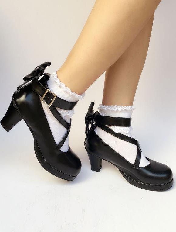 Lolitashow Black Lolita Shoes Round Toe