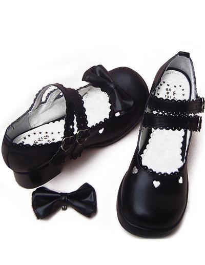 Negro Tacones Gruesos Zapatos Tirantes Lazo Hebillas w5Hb7