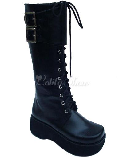 Botas de lolita de PU negro de estilo simple iqT6VGX