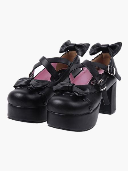 Zapatos negros de lolita de PU con lazo de moda 3HqsU7HaLV
