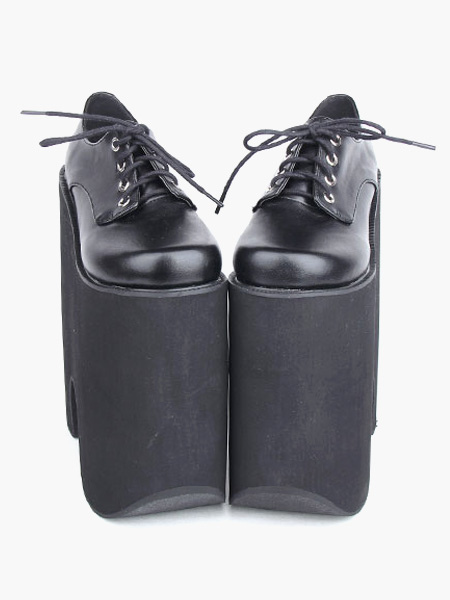 e27ff95cf3b13 Gothic Black Lolita High Platform Shoes Heels With Shoelace