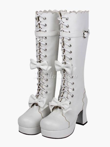 Lolita marrón botas de encaje empate arco PU tacón grueso Lolita b1LYoioK