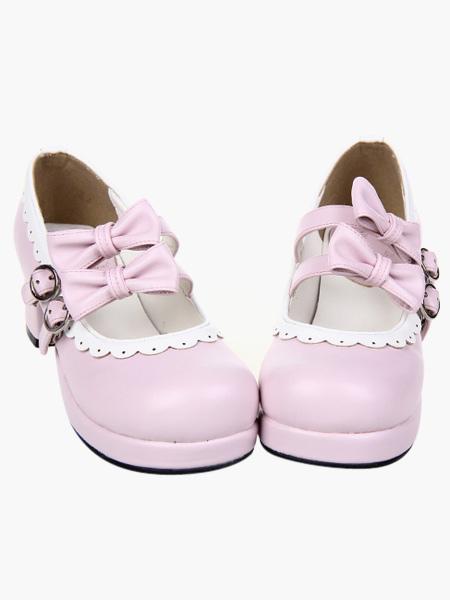 Blancos Zapatos Lolita Tacón Cuadrados Lazos Trim XcgA08UX