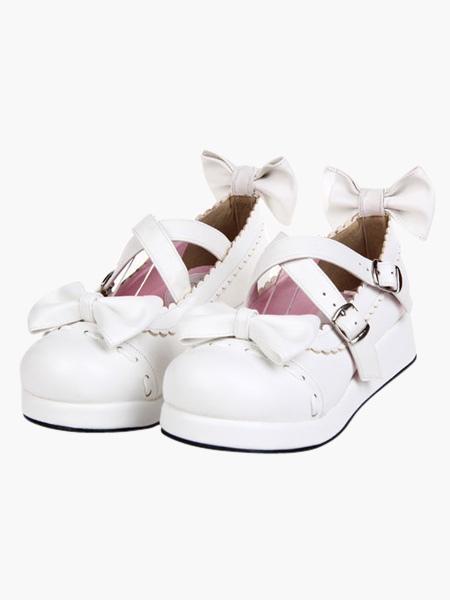 Zapatos Lolita Dulce Blancos Platform Lazo con Trim wtlCG4