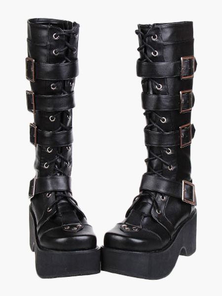 low cost get cheap new appearance Lolitashow Gothic Black Lolita Boots Platform Shoes Buckles ...