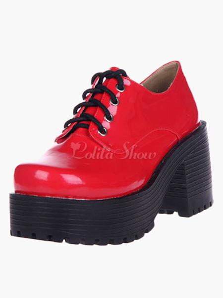 Lolitashow Glossy Red Lolita Heels