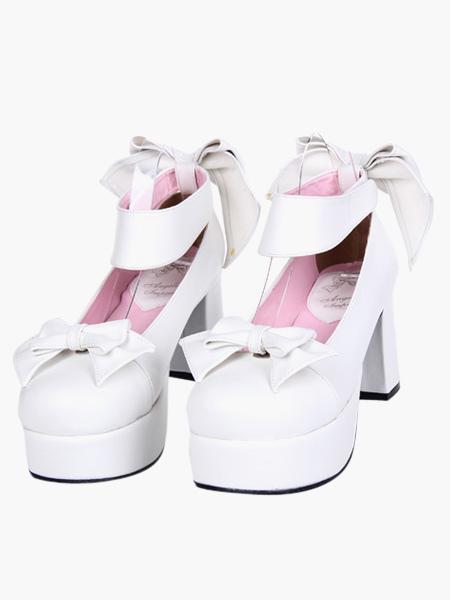 Lolitashow White Lolita Chunky Heels