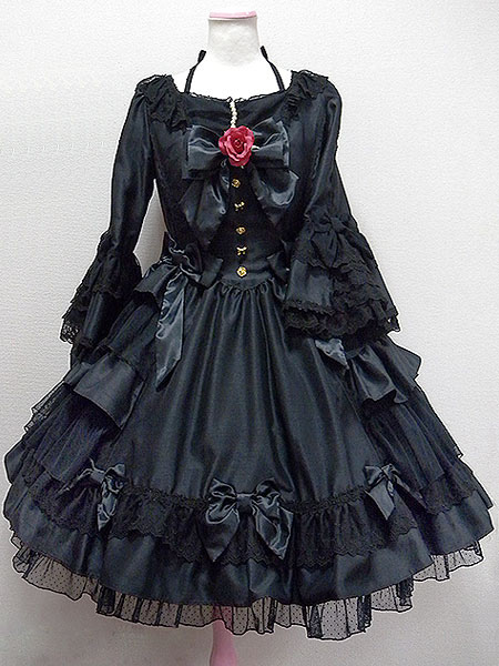 Gothic Lolita Dress Op Black Hime Long Sleeve Lace Ruffled Bow