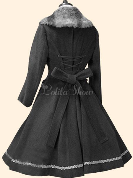 Lolitashow Süße Lolita Mantel Rosa Wolle Fell Kragen A Linie Bogen Button Langarm Lolita Mantel