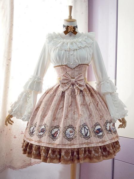 97ee674f4 ... Lolitashow Dulce Lolita Blusas Encaje Largas Hime Mangas Cuello Tirantes  Volantes Collar ...