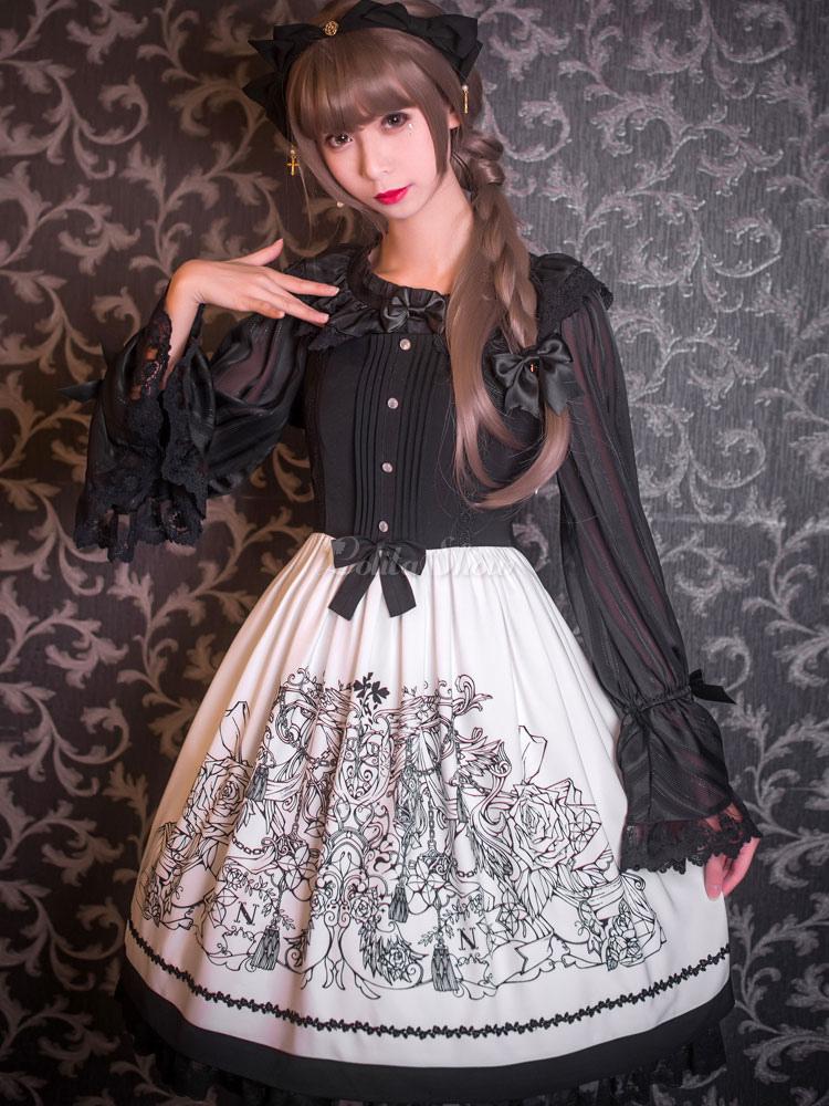 low priced e5bb2 ed157 Lolitashow Gothic Lolita abito bianco e nero stampato vestito maglia Lolita  con pizzo