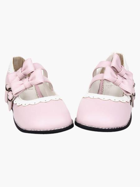 Blancos Zapatos Lolita Tacón Cuadrados Lazos Trim 5P1wNN0kUo