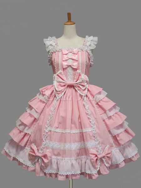 Lolitashow Elegant Sweet Cotton Lolita Jumper Skirt Lace Trim Layers Ruffles Bows Lolitashow Com