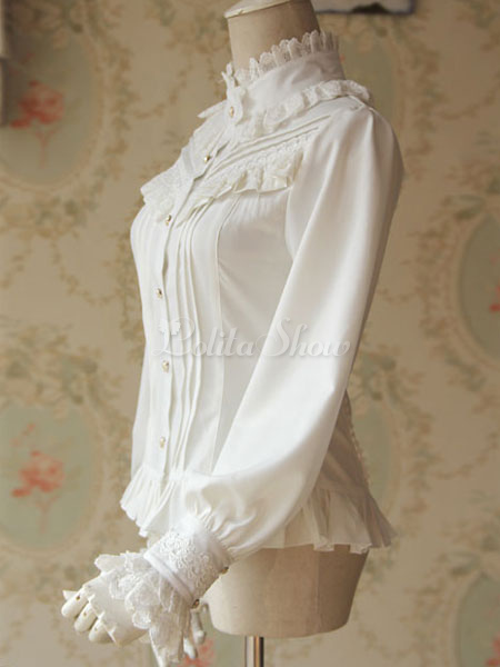 e6403d475cb0d ... Lolitashow White Lolita Blouse Fragrant Series Infanta Chic Chiffon  Shirt For Women ...