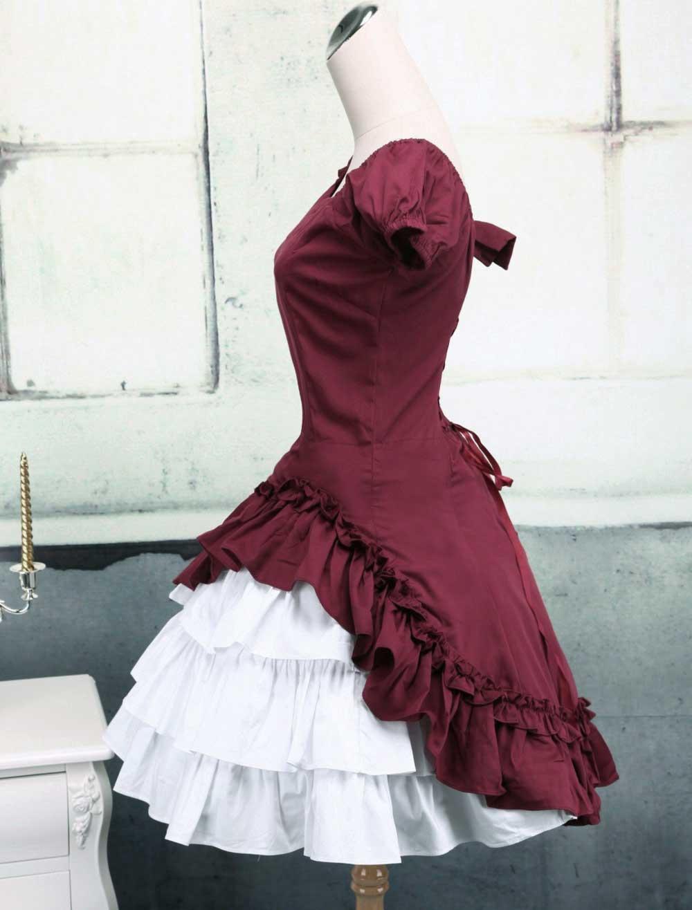 ワイン赤ウィンターロリータopドレス 2019 ショートスリーブフリル付き