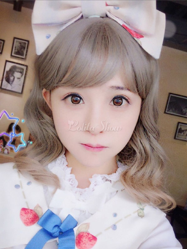 Harajuku Lolita Wigs Long Curly Pewter Synthetic Hair Wigs With