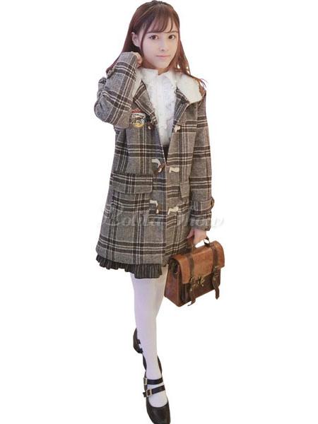 Manteau Bouton Universitaire À Écossaise Avec Tea Hiver Capuche Lolita En Party Laine Style Manteaux Tissu Polyester Ensemble FJKclT1