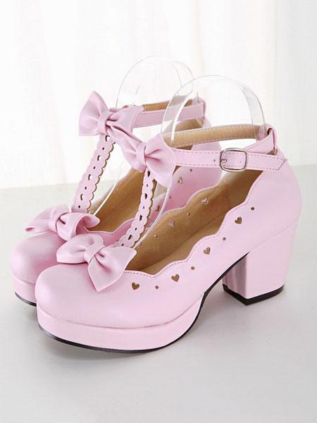té Zapatos de de 2018 puntera PU de del cuadrada lolita Fiesta vaqvZwp