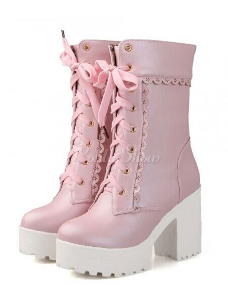 2be7429492e Lolitashow Matte White Lolita Short Boots Chunky Square Heels Platform Lace  Up