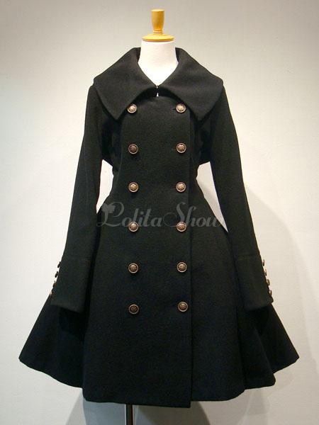 new product 1b79d fc88b Gothic Lolita Mantel Wolle Zweireihiger plissierter schwarzer Lolita Mantel