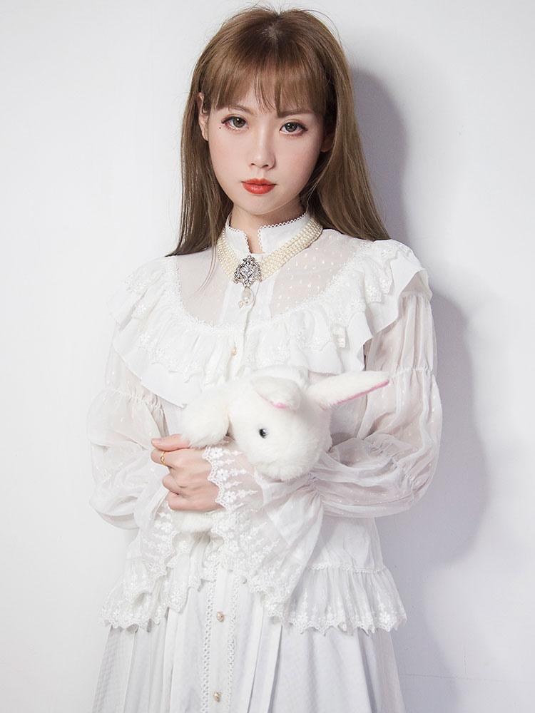 precios baratass último clasificado la mejor moda Camisa de Lolita clásica Blusa de encaje Lolita blanca de Jacquard