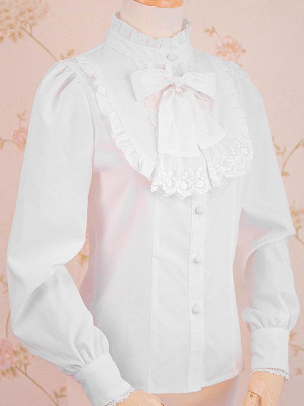 buena reputación ahorrar venta más barata Camisa de Lolita clásica Bordón de encaje con volados Blusa de lolita blanca