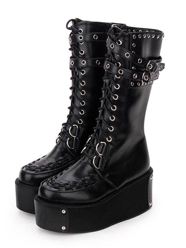 69cfd08f578 Lolita gothique bottes rivet boucle à œillets à lacets plateforme zippée  noir Chaussures Lolita ...