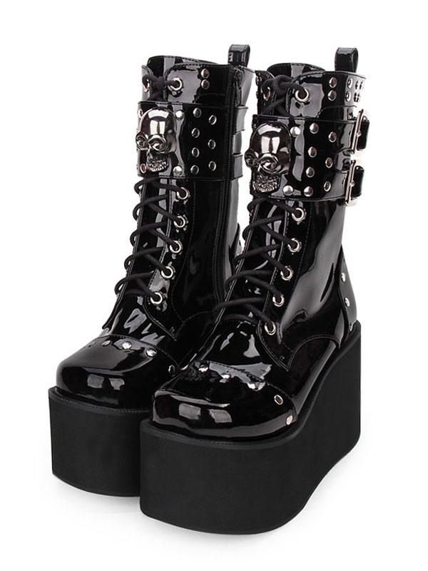 Chaussures à gothiques Lolita Rivet plateforme Lolita lacets à boucle zippée à Bottes Noir métallique g7fyb6vY