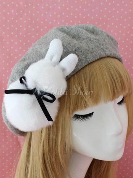 906e188b0f178 Sweet Lolita Beret Bow Faux Fur Bunny Wool Lolita Hat - Lolitashow.com