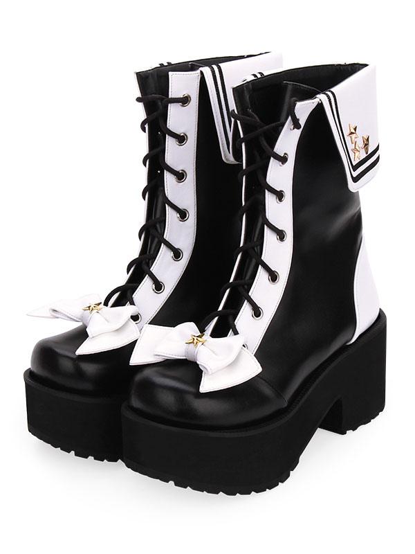 Tons Chaussures Et Plateforme Avec À Lacets Bottes Deux Lolita Classiques Noires 8wvn0mNO