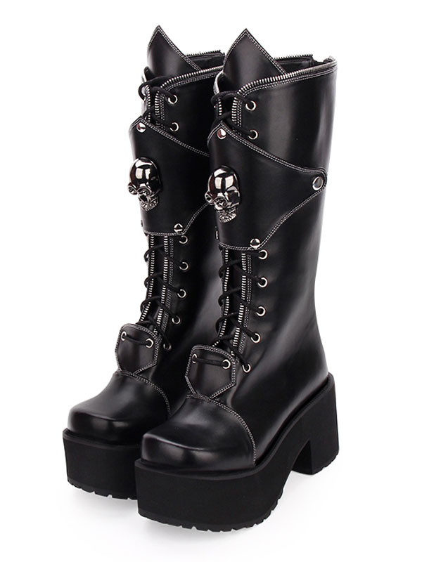 Gothic Lolita Boots Skull Lace Up