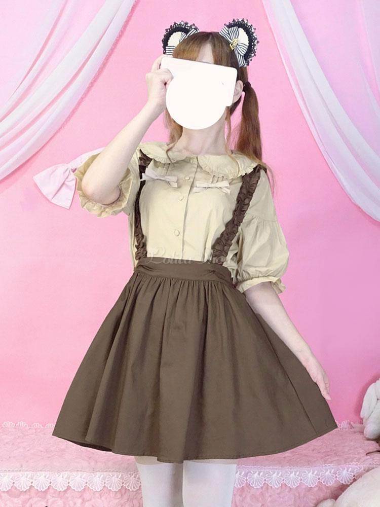 Klassisches Lolita Outfit Brauner Rüschenbogen Lolita Bluse aus Baumwoll Leinen mit Jumper Rock