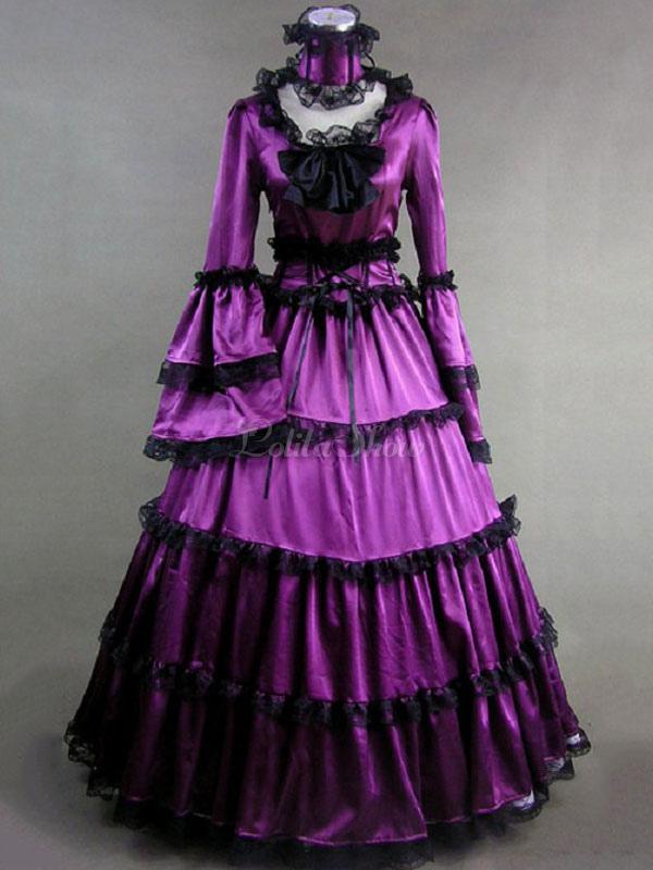 Vestido de Lolita Tela Satén Era victoriana con manga larga Fiesta ...