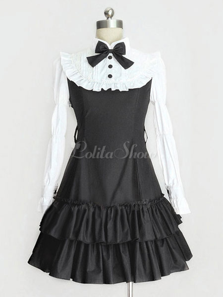 8c16004ed Lolitashow Classic Lolita Dress OP Black Lolita Dress High Collar Long  Sleeve Tiered Ruffle Lolita One Piece Dress With Bow - Lolitashow.com