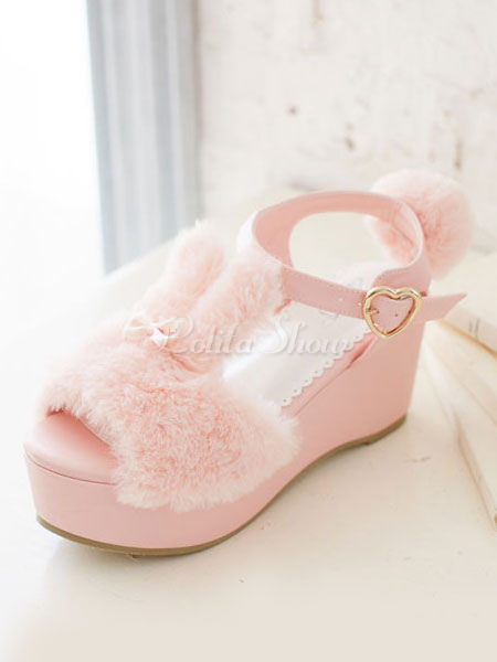 big sale 429ca fd5a9 Pink Lolita Sandalen süßer Hase Pelz Pom Pom Keil zehenoffenen Lolita  Plateauschuhe