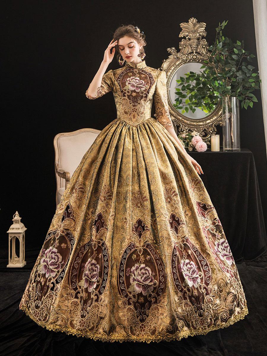 Viktorianische Kleid Kostüme Damen Blonde Halbarm Stand Stehkragen ...