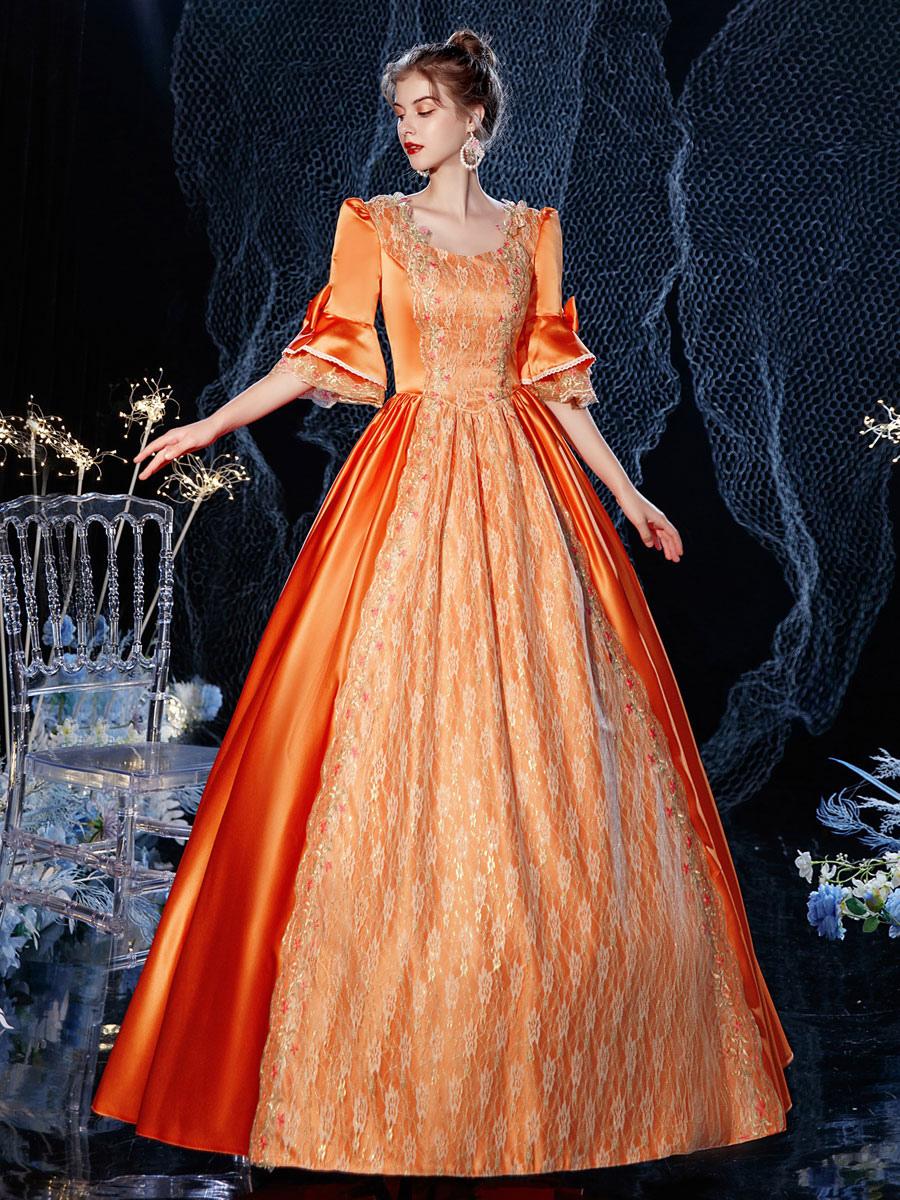 Rokoko Viktorianischen Retro Kostum Kleid Orange Rot Maskerade Spitze Baumwolle Cosplay Kostum Karneval Lolitashow Com