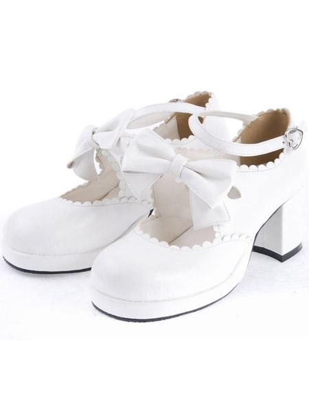 timeless design 7ff55 aff20 Lolitashow Dolce bianco grosso tacchi Lolita scarpe Pony tacchi caviglia  cinturino fiocco Decor punta rotonda