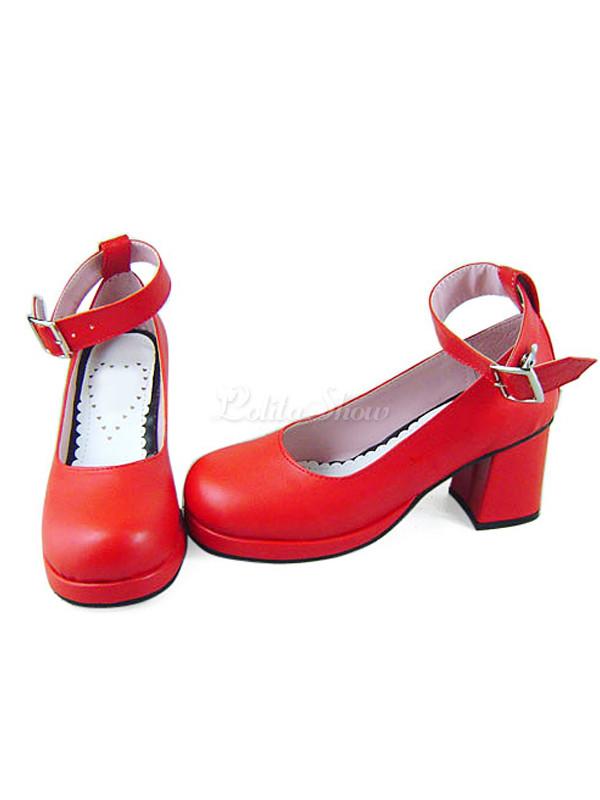 Lolitashow 甘い赤 PU レザー分厚いかかと足首ストラップ ロリータ靴