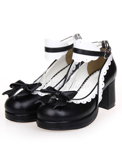 Negro Tacones Gruesos Zapatos Tirantes Lazo Hebillas NOGFP08NJ4