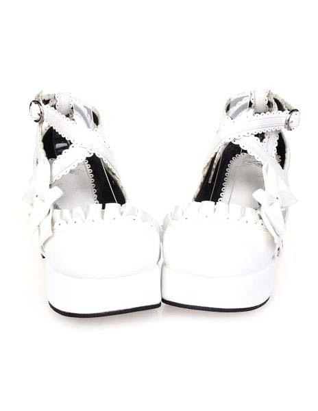 scarpe Lolitashow fiocco e bianche Lolita con tacchi qqORZW5
