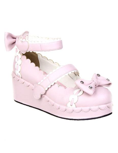 Zapatos Lolita Dulce Tirantes de Tobillo Lazos Blanco Trim birVkfPO