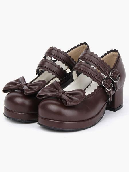 Zapatos Lolita Tacones Gruesos Tacón Cuadrado Tirantes de Tobillo Hebilla Lazo ViRSx9fx